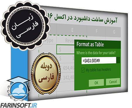 دانلود آموزش ساخت داشبورد با اکسل 2016 – به زبان فارسی