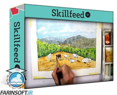 دانلود Skillshare Beginners ink & watercolour. Landscape with cattle.