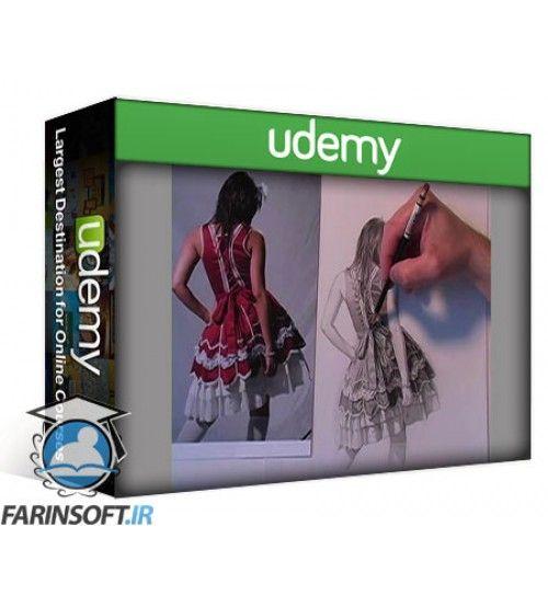 آموزش Udemy how to draw fabric a layered approach