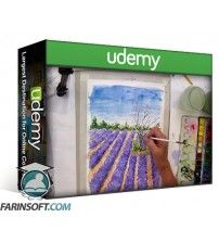 آموزش Udemy Paint a colourful fluid & dramatic lavender field